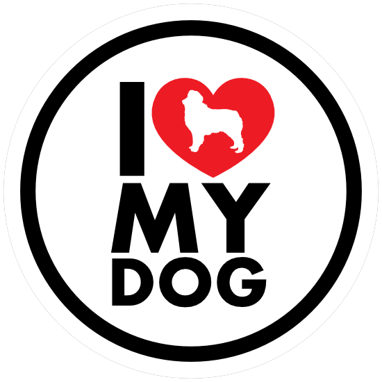 I Love My Australian Shepherd With Heart Circle Magnet