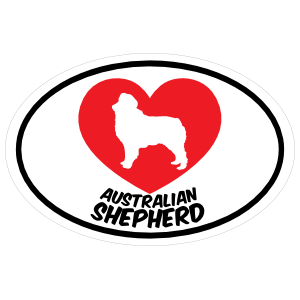 I Love My Australian Shepherd with Heart Oval Sticker