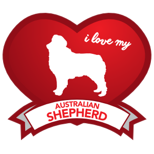 I Love My Australian Shepherd with Shaded Heart Sticker