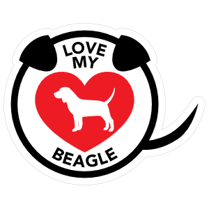 I Love My Beagle Puppy Heart Circle With Tail Sticker