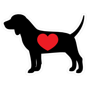 I Love My Beagle Silhouette with Heart Magnet