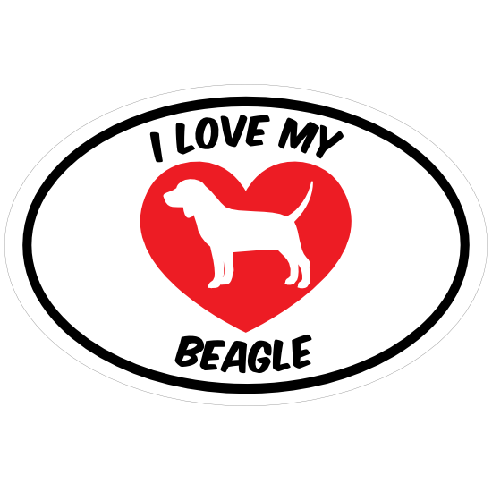 I Love My Beagle Text With Heart Oval Magnet
