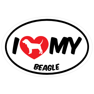 I Love My Beagle with Big Text Oval Magnet