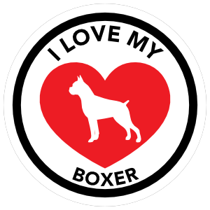 I Love My Boxer With Big Heart Circle Magnet