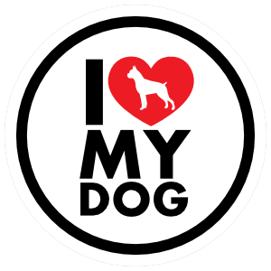 I Love My Boxer With Heart Circle Magnet