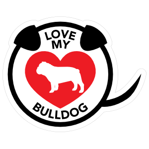 I Love My Bulldog Puppy Heart Circle with Tail Magnet