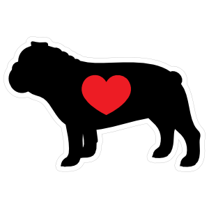 I Love My Bulldog Silhouette With Heart Magnet