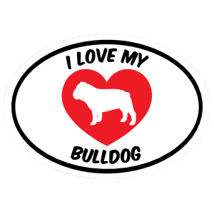 I Love My Bulldog Text with Heart Oval Magnet