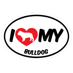 I Love My Bulldog With Big Text Oval Magnet