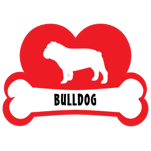 I Love My Bulldog with Dog Bone and Heart Magnet