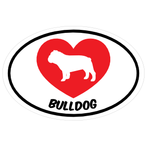 I Love My Bulldog with Heart Oval Magnet