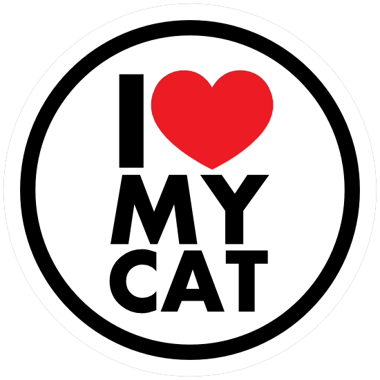 I Love My Cat Circle Sticker