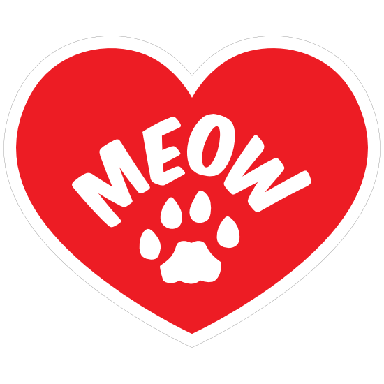 I Love My Cat Heart With Meow And Paw Sticker