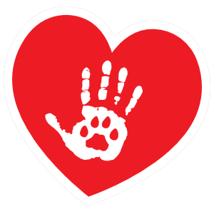 I Love My Cat Heart with Palm and Paw Sticker