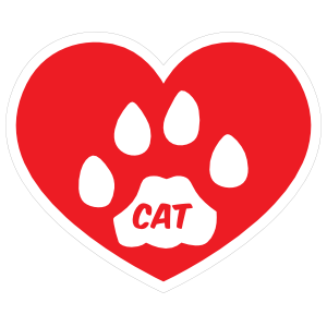 I Love My Cat Heart with Paw and Text Magnet