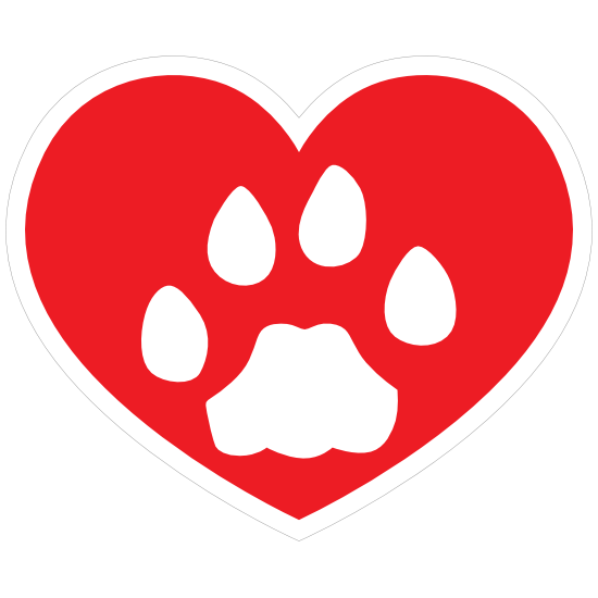 I Love My Cat Heart With Paw Sticker