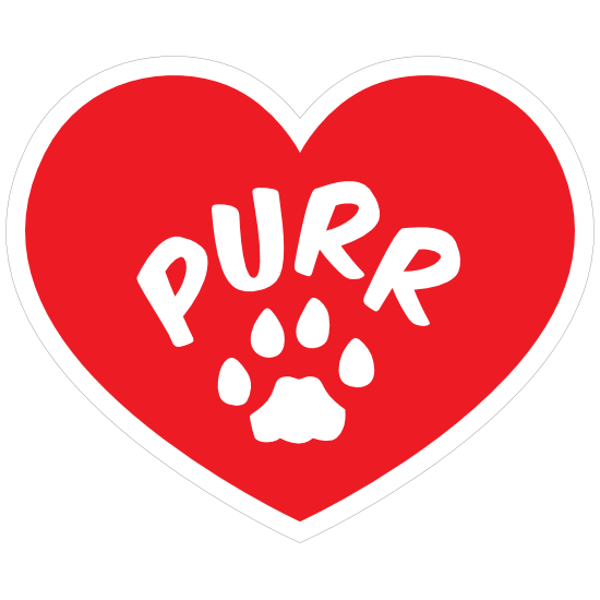I Love My Cat Heart With Purr And Paw Sticker