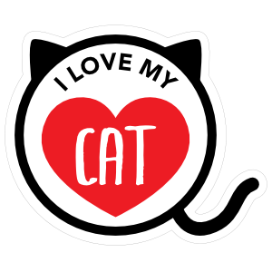 I Love My Cat Kitty Heart Circle with Tail Sticker