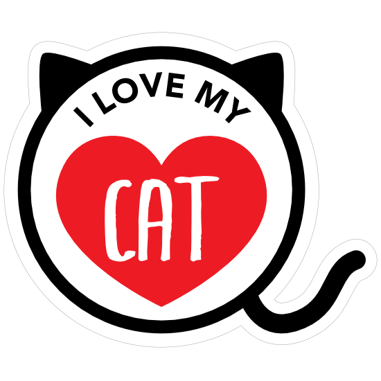 I Love My Cat Kitty Heart Circle With Tail Magnet