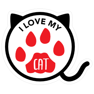 I Love My Cat Kitty Paw Circle With Tail Sticker
