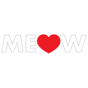 I Love My Cat Meow with Heart for letter O Sticker