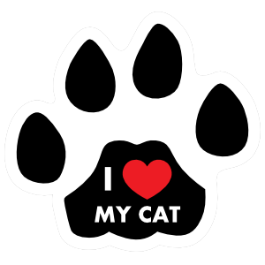 I Love My Cat Paw With Text Sticker
