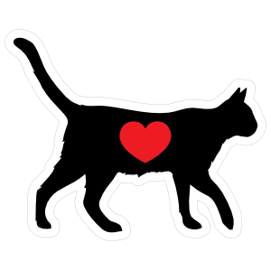 I Love My Cat Silhouette With Heart Magnet