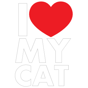 I Love My Cat Text with Heart Sticker