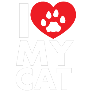 I Love My Cat Text With Paw Inside Of Heart Sticker