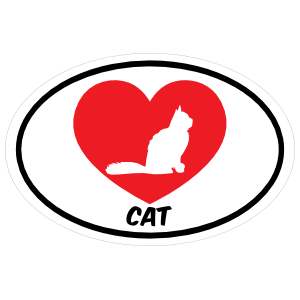 I Love My Cat with Bushy Tail and Heart Oval Sticker