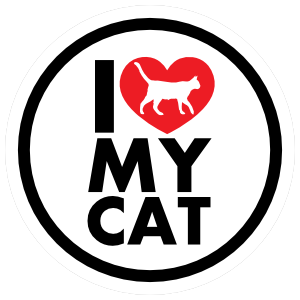 I Love My Cat With Heart Circle Sticker