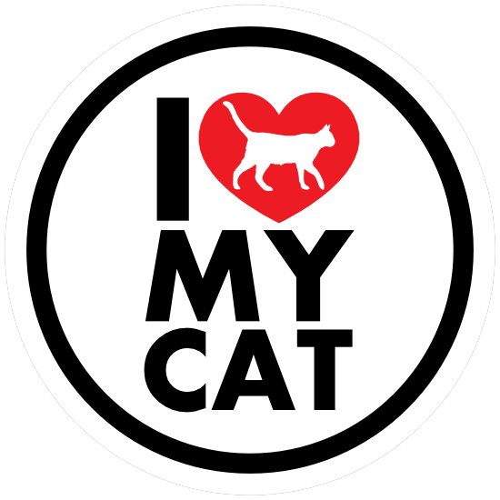 I Love My Cat With Heart Circle Magnet