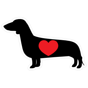 I Love My Dachshund Silhouette with Heart Sticker