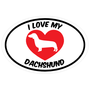 I Love My Dachshund Text with Heart Oval Sticker