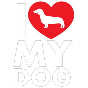 I Love My Dachshund Text with Heart Sticker