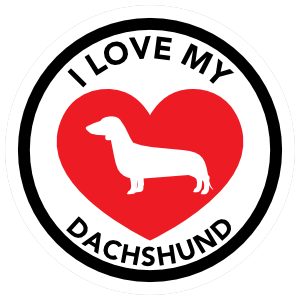 I Love My Dachshund with big Heart Circle Sticker