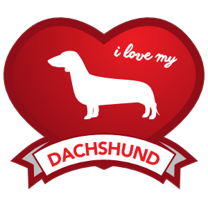 I Love My Dachshund with Shaded Heart Sticker