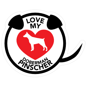 I Love My Doberman Pinscher Puppy Heart Circle with Tail Sticker