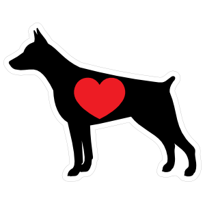 I Love My Doberman Pinscher Silhouette with Heart Sticker