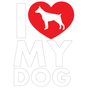 I Love My Doberman Pinscher Text with Heart Sticker