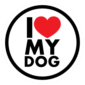 I Love My Dog Circle Magnet