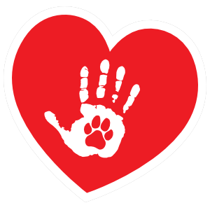 I Love My Dog Heart with Palm and Paw Sticker