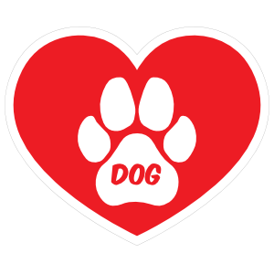 I Love My Dog Heart with Paw and Text Sticker