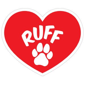 I Love My Dog Heart With Ruff And Paw Magnet