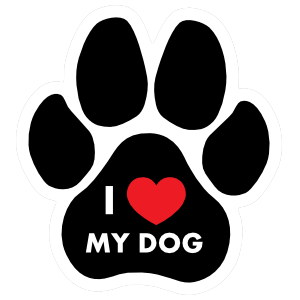 I Love My Dog Paw with Text Magnet