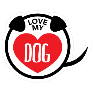 I Love My Dog Puppy Heart Circle With Tail Magnet