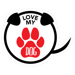 I Love My Dog Puppy Paw Circle with Tail Magnet