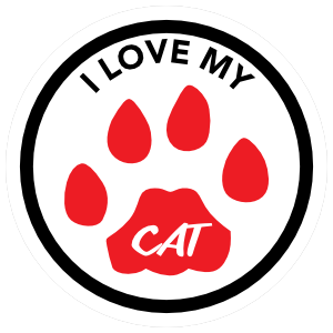 I Love My Dog Text and Red Paw Circle Sticker