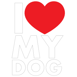 I Love My Dog Text with Heart Sticker