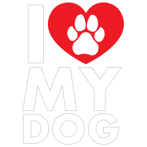 I Love My Dog Text with Paw inside of Heart Sticker